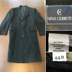 7efc131f Details about NINO CERRUTI Mens Size 44-R Dark Gray Cashmere Wool Blend  Long Coat Overcoat