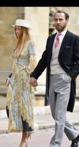 H/&M Trend SS19 V Neck Pleated Wrap Chiffon Maxi Dress UK 4 Eu 32 Wedding