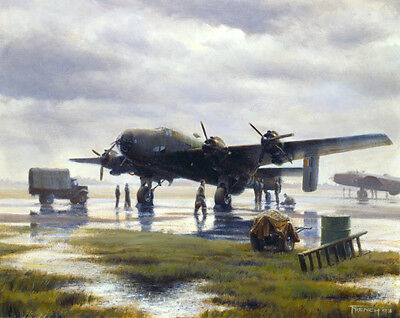 "Handley Page Halifax Bomber Aircraft RAF Aviation Painting Art Print 14"" Print"
