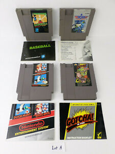 4 NES Carts w/ Manuals Authentic Nintendo: Gotcha!, Mario/Duck Hunt, Top Gun...