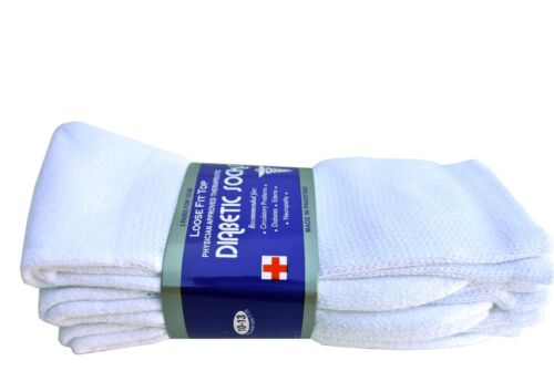 3,6,12 Pairs Diabetic WHITE CREW SOCKS circulatory Health Men's  Cotton ALL SIZE