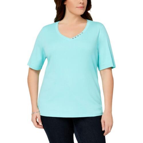 Karen Scott Womens Blue Cotton Elbow Sleeve Tee Henley Top Top Plus 0X BHFO 4050