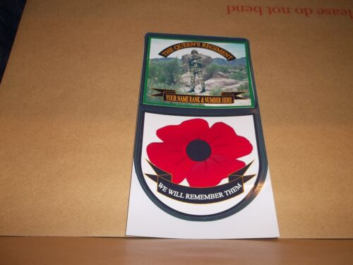THE QUEEN/'S REGIMENT CAR WINDOW REMEMBERANCE STICKER.
