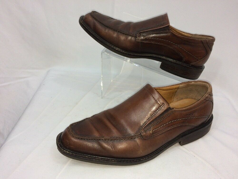 ECCO BROWN LEATHER SLIP ON LOAFERS SHOES US MENS SZ 8-8.5 EU 42