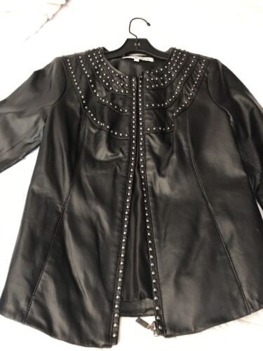 Black Stud Genuine Jacket Leather Fitted ZwdSqpY