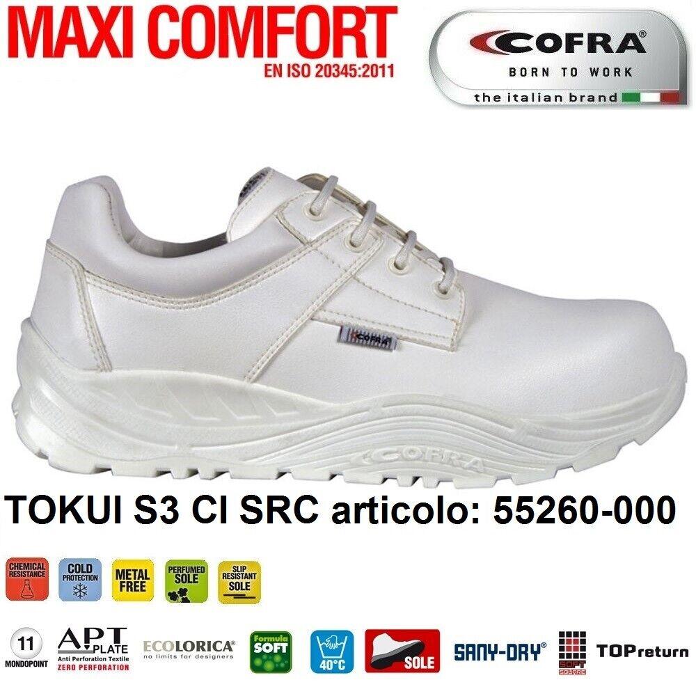 Scarpe Antinfortunistiche COFRA linea MAXI COMFORT modello TOKUI S3 CI SRC ECOLORICA idrorepellente, calzature per l'industria alimentare , chimica ,