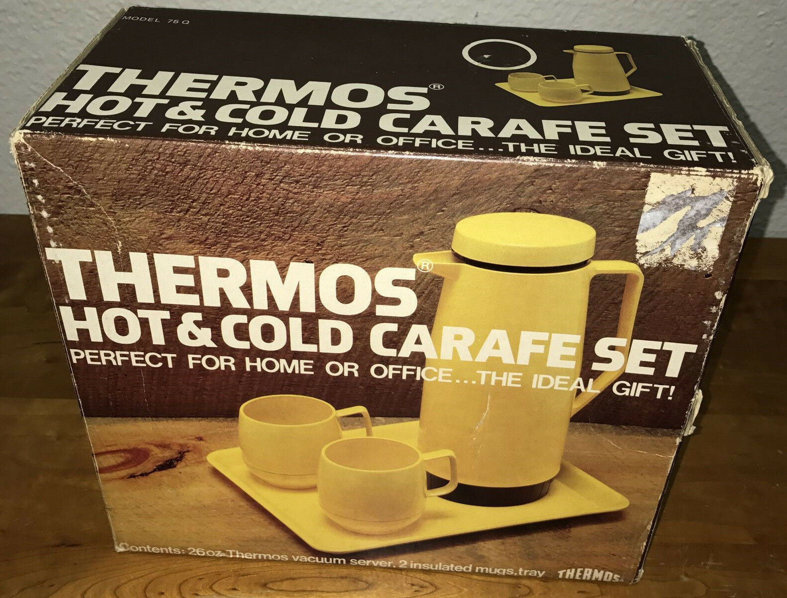 NEW Vtg Thermos Hot & Cold Carafe Set Unused Yellow 75Q 1977 King-Seeley