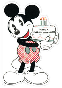 Image Is Loading Mickey Mouse Holding Cake Diecut Sunrise Greetings Disney