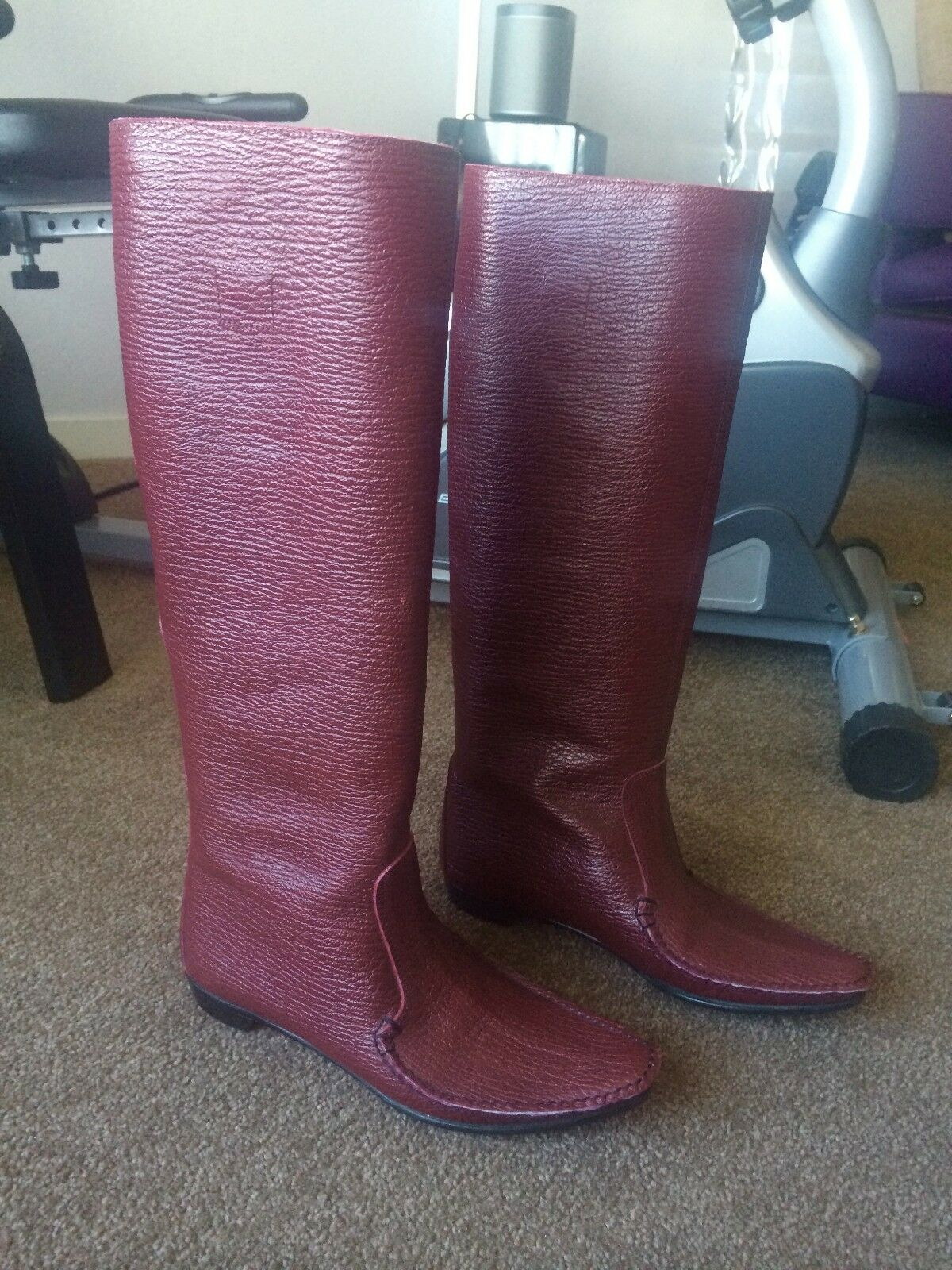 AUTH SIGERSON MORRISON KNEE HIGH FLAT BURGUNDY LEATHER BOOTS Sz 6 1/2 B
