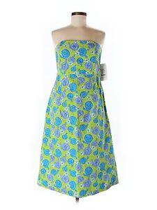 New Women Lilly Pulitzer Sabrina Green Escargot Snail Strapless  Dress Size 10