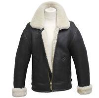Men's Aviator B3 Cream Real Shearling Sheepskin Leather Bomber Flying Jacket
