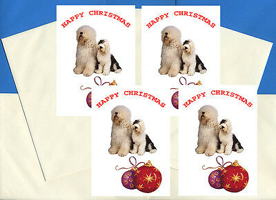 OLD ENGLISH SHEEPDOG PACK OF 4 CARDS DOG PRINT GREETING CHRISTMAS CARDS |  eBay