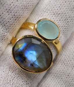Chalcedony-Gemstone-Gold-Plated-Ring-Jewelry-925-Sterling-Silver-FreeShip-MR1702