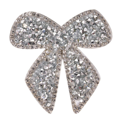 Rhinestones Bow Embroidered Patch Iron On Sewing Crystal Applique For Jeans FE