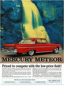 1961 MERCURY METEOR 800 Signal Red 2-door Coupe beside Waterfall Vintage Ad