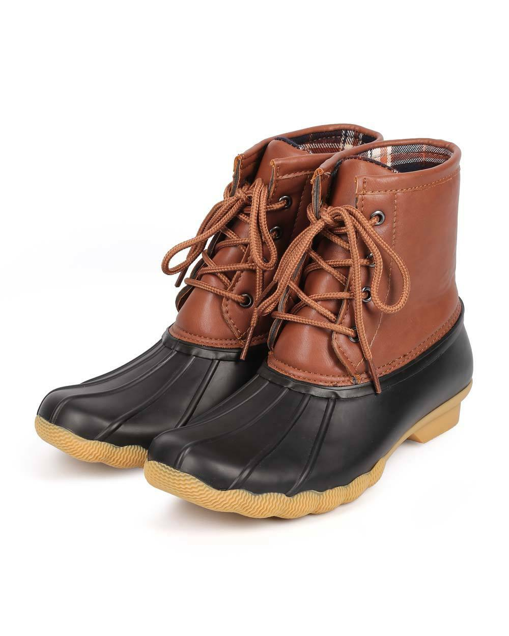New Women Refresh Hunter-06 Leatherette Two Tone Mix Media Lace Up Duck Boot