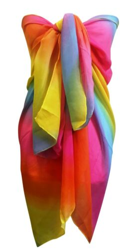 Central Chic Large Silky Chiffon Summer Holiday Bright Abstract Scarf /& Sarong