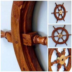 Antique Maritime Wooden Brass Ship Wheel Pirate Boat Nautical Fishing Home Decor