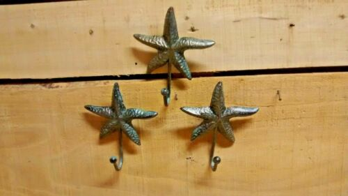 3  Cast Iron Nautical STARFISH Coat Hook