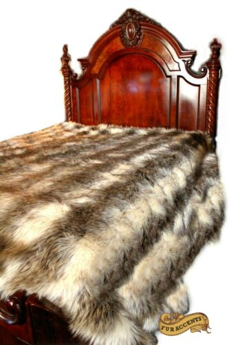 FUR ACCENTS Faux Fur Bedspread Gray Stripe Wolf Fur All Sizes