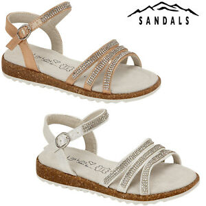 15b54ef195659e Image is loading GIRLS-CHILDRENS-KIDS-DIAMANTE-PARTY-SHOES-SUMMER-STRAPPY-