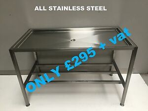 SAUSAGE TABLE ALL STAINLESS STEEL ONLY £295+VAT BUTCHERS BENCH BLOCK MEAT