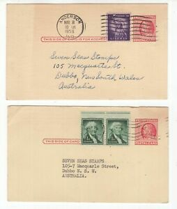 USA-2-x-pre-paid-uprated-postcards-to-Australia-circa-1950-039-s