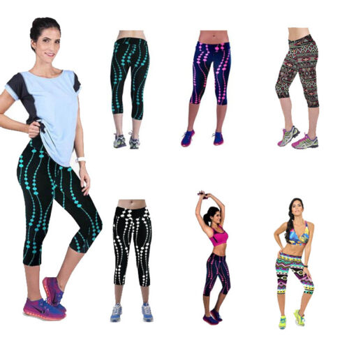 Womens Lady High Waist Fitness Yoga Sport Pants Printed Stretch Cropped Leggings
