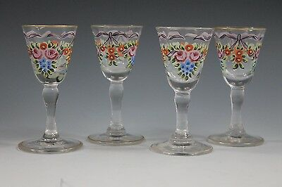 Glass Expressive 4 Loetz Crystal Enameled Small Glass Cordials Art Glass Stamped Made In Czechoslovakia