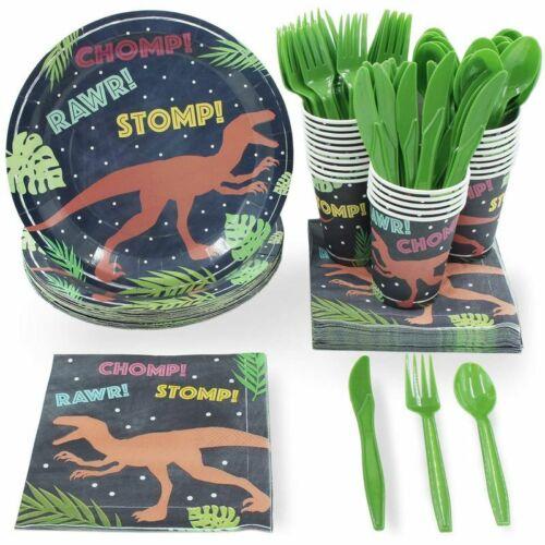 24 Set Dinnerware Kids T-Rex Dinosaur for Boys Birthday Party Supplies BPA FREE