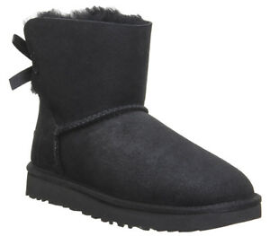 UGG-AUSTRALIA-MINI-BAILEY-BOW-II-WOMENS-UK-5-5-BLACK-SUEDE-SHEEPSKIN-ANKLE-BOOTS