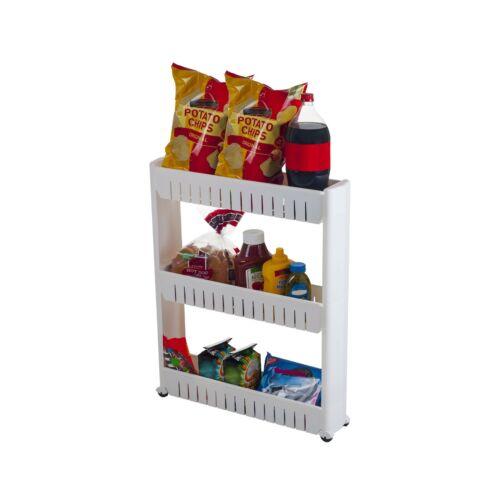 Mobile Shelving Unit Organizer with 3 Large Storage Baskets Slim Slide Out P...