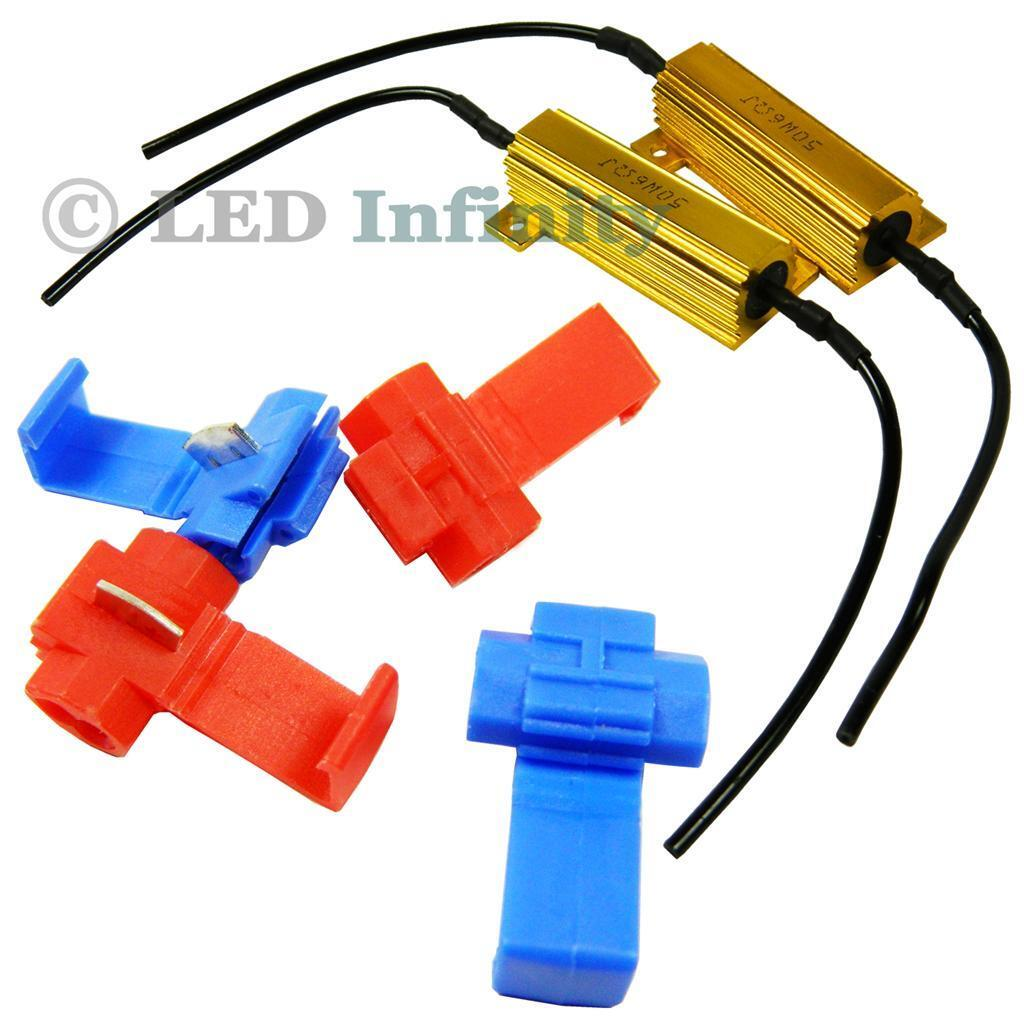 2x 50 Watt 6Ohm 1156 3157 7443 1157 Turn Signal Lights Relay Kit Load Resistors