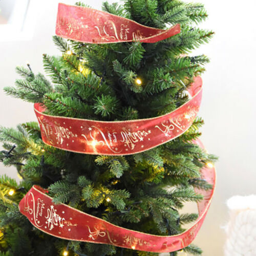 Merry Christmas Gold Letter Print Red Ribbon Xmas Tree Ornament Party Decoration