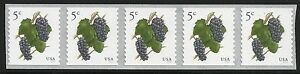 US-Scott-5038-Strip-of-5-2016-Grapes-VF-MNH