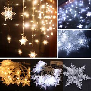 20 LED SnowFlake Snow Fairy String Light Wedding Garden Party Xmas Tree Decor eBay
