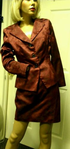 TAHARI Vintage Skirt Suit Burgundy Wine Asian Prin