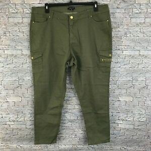 bbd7038b7c2 Plus Size Womens 2X Olive Green Skinny Ankle Jeans High Waist Cargo ...