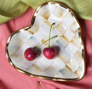 MacKenzie-Childs Parchment Check Fluted Heart Plate - Discontinued