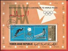 Internat. Sportspiele Skispringer Turner Jemen Block 153A gezähnt