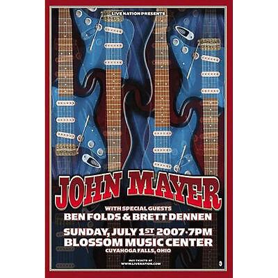 John Mayer & Ben Folds Cuyahoga 2007 Concert Poster NEW 12.5x18.5