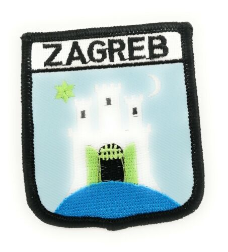 Approx 70mm FREE UK Delivery! ZAGREB ON SHIELD Embroidered Sew on Patch