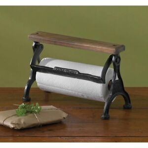Park Designs Vintage Style Counter Top Paper Towel Holder Wood Cast Iron Country