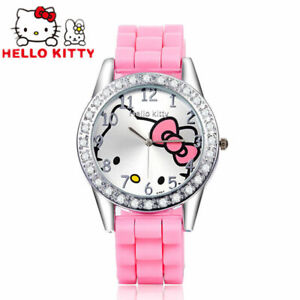 Hello-Kitty-Montres-strass-Cartoon-pour-filles-4-couleurs-haute-qualite-Free-Ship