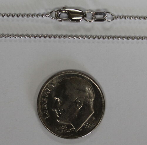 """14Kt 14K White Gold 16/"""" 18/"""" 20/"""" 24/"""" 1mm Ball Bead Necklace Chain Lobster"""