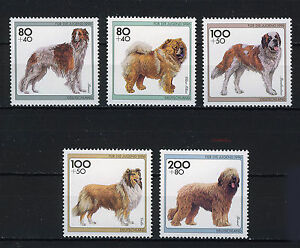 ALEMANIA-RFA-WEST-GERMANY-1996-MNH-SC-B792-B796-Dogs