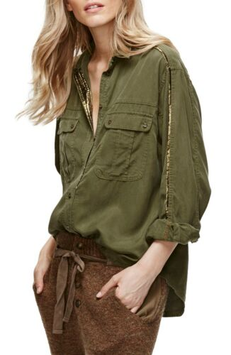 NWT Free People Off Campus Button Down Top Retail $108