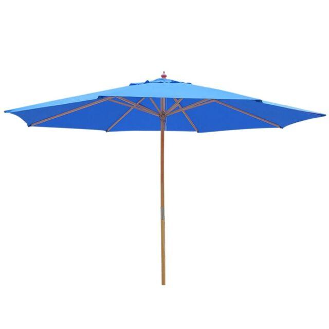 13 Ft Outdoor Patio Wooden Umbrella German Beech Wood Garden Beach Sun Shade