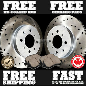 P0253-FIT-2001-2002-Toyota-Echo-FRONT-Cross-Drilled-Brake-Rotors-Ceramic-Pads