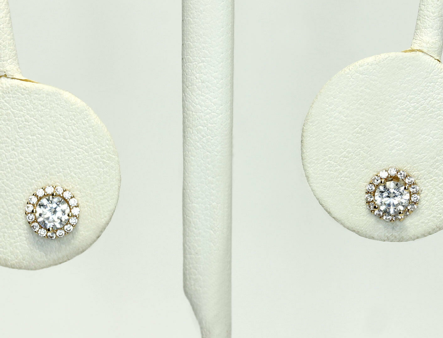 14k gold Round Cubic Zirconia Frame Circle Stud Earrings